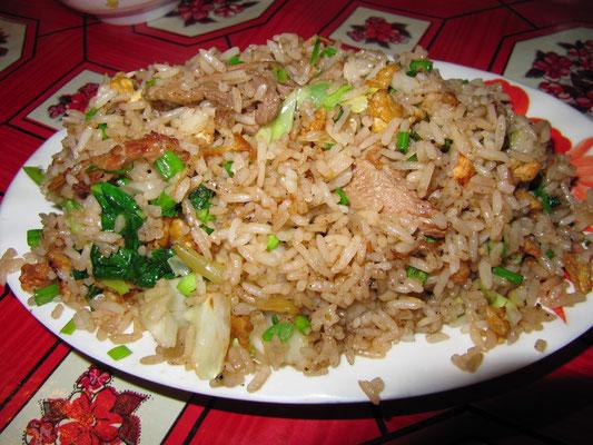 Gebratener Reis mit Rindfleisch.