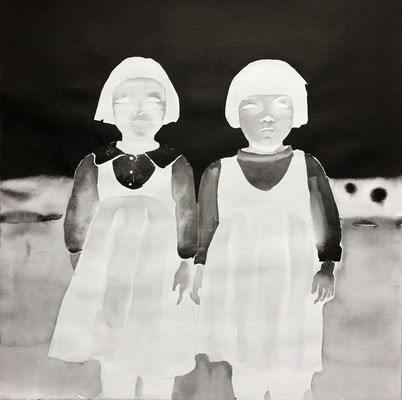 twins - 2016, china ink on paper, 50 x 50 cm