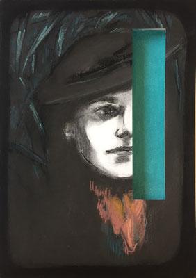 Mask IV, 2018 - pastel on paper, 42 x 30 cm