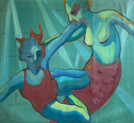 Elena Ricci -mermaid - 2020, oil on canvas, 95 x 110 cm