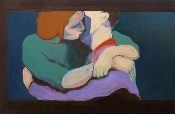 La chambre bleue - 2015, 60x90 cm, oil on canvas
