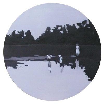 Die Wanderer II, 2012 - acrilico su tela, diam. 120 cm
