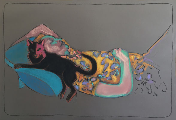 gatto - 2020, pastel on paper, 65 x 110 cm