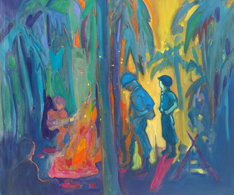 who by fire - 2019 - oil on canvas, 92 x 110 cm