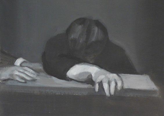 The listener II, 2012 - acrilico su tela, 50x70 cm