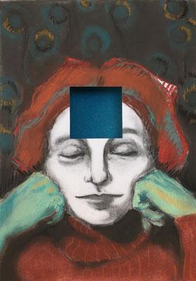 Mask II, 2018 - pastel on paper, 42 x 30 cm