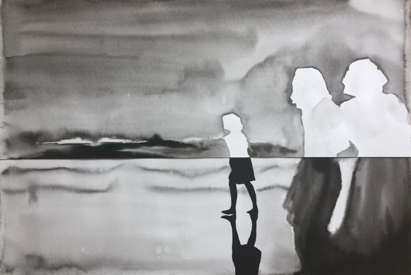 untitled - 2017, china ink on paper, 48 x 70 cm