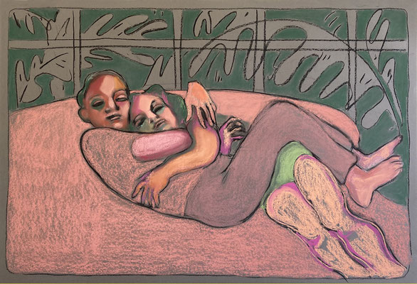 hug - 2020, pastel on paper, 65 x 110 cm