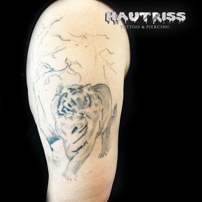Cover-Up/Auffrisch-Tattoo Tiger Ursprung