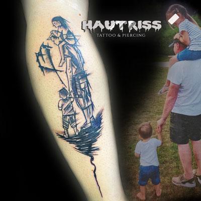 Scribble-Tattoo, Waden-Tattoo nach Fotovorlage