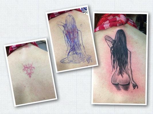 Cover-Up-Tattoo eines bestehenden Tribals: im Wasser stehende Frau.