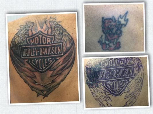 Cover-Up-Tattoo vom Teufel zum Harley Davidsson-Logo.