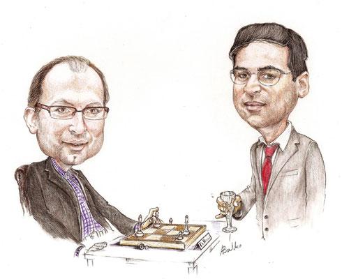 Christian Hesse mit Weltmeister Viswanathan Anand ©Alex Balko