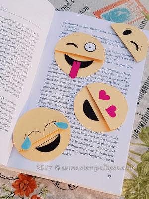 Smiley Lesezeichen grinsend, lachend, frech, zwinkernd