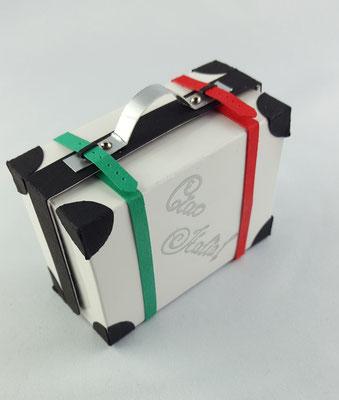 Um dem weißen Koffer ein wenig Chic zu verleihen, habe ich die Kofferbänder farbig gestaltet.