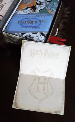 Auf die Innenseite habe ich einen gedruckten Harry Potter Briefbogen geklebt. Hier kann man dann die Glückwünsche reinschreiben.