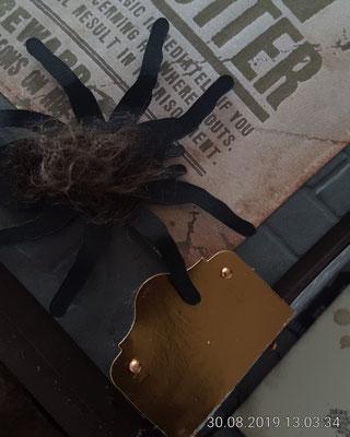 Die Spinne ist mit dem Plotter ausgeschnitten