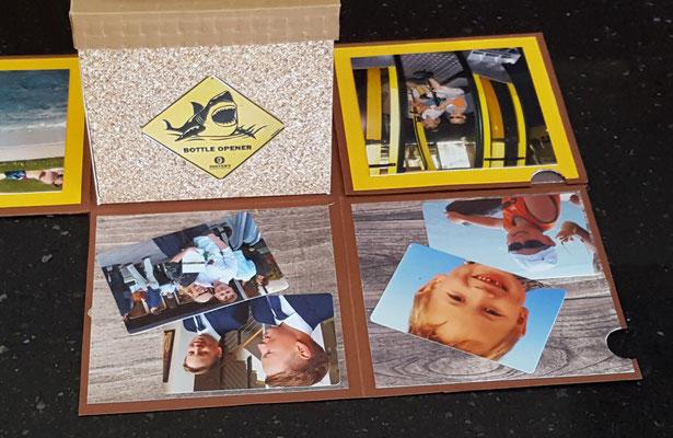man öffenet eine Klapplkarte und kann 2 Fotos einkleben