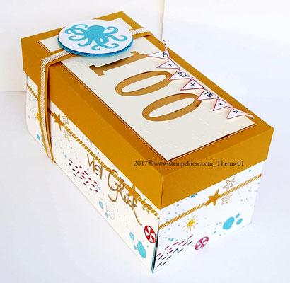 Die Box wird durch ein Banderole aus Papier zusammenghalten