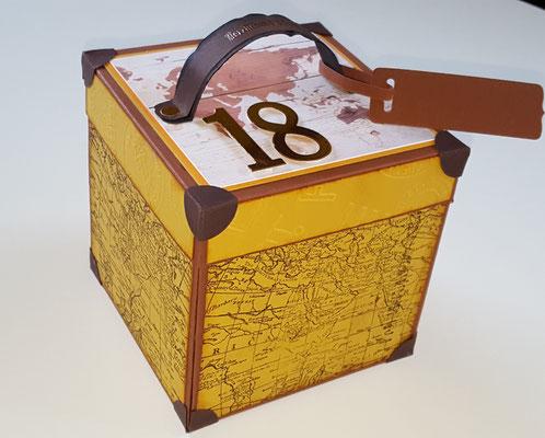 Die Box ist wie ein Koffer gestaltet