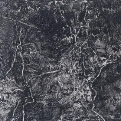 "Tiny Dirt I, Litho Crayon on Paper, 7"" x 7"" 2018"