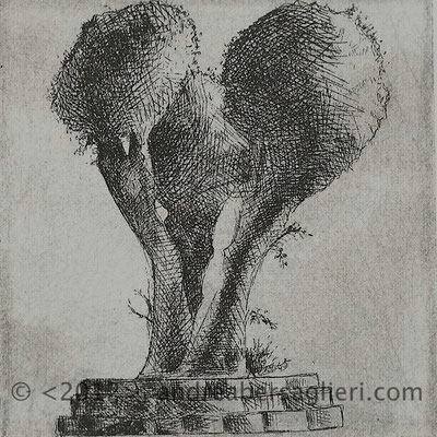 "Olive Tree XI, 3x3"" Drypoint and Etching"