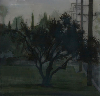 "Foggy Tree Series, Acrylic on Panel, 4"" x 4"", 2013"