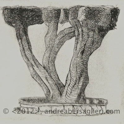 "Olive Tree VI, 3x3"" Drypoint and Etching"