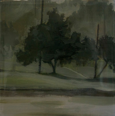 "Foggy Tree Series, Acrylic on Panel, 3"" x 3"", 2013"