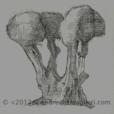 """Olive Tree VIII, 3x3"""" Drypoint and Etching"""