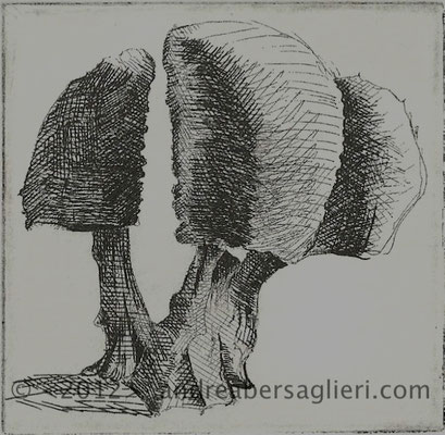 """Olive Tree IX, 3x3"""" Drypoint and Etching"""