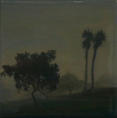 "Foggy Tree Series, Oil on Canvas, 4"" x 4"", 2014"