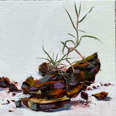"""Dirt Clod 1, Oil on Canvas 8"""" x 8"""" 2021"""