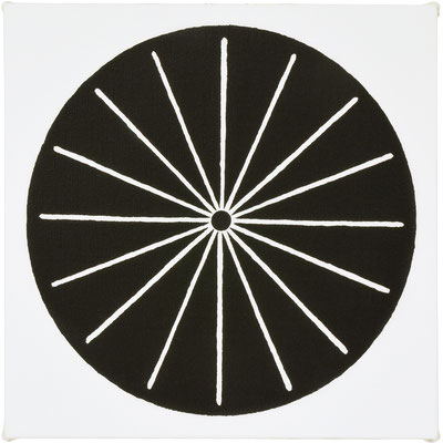 "しゃりんのえ1  ""wheel1"" 333×333mm, acrylic on canvas, 2015"
