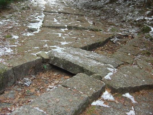 江戸時代に入って整備された石畳と通路を横切る排水路