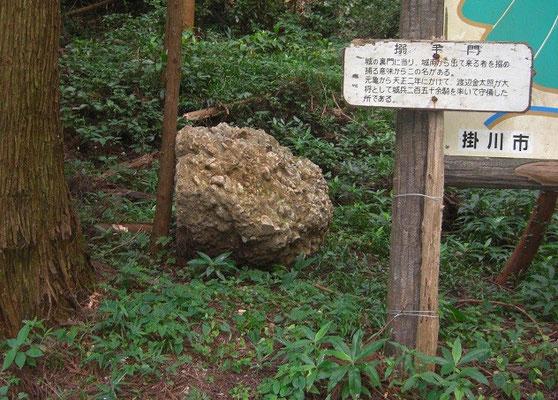 搦手門の落石