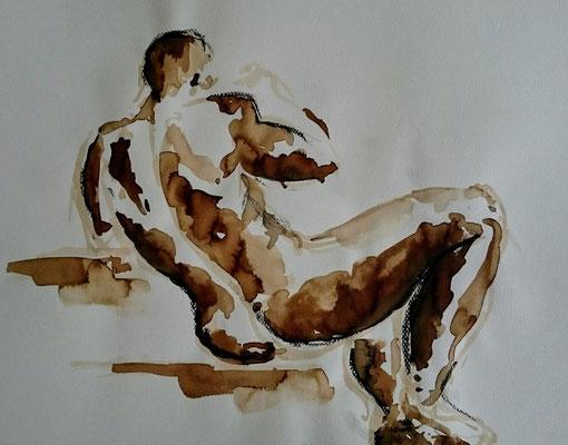 Homme assis Encre, brou de noix et pastel sec 2017