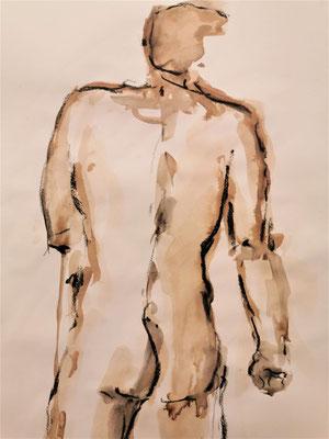 Homme debout de dos, Encre, brou de noix et pastel sec 2019