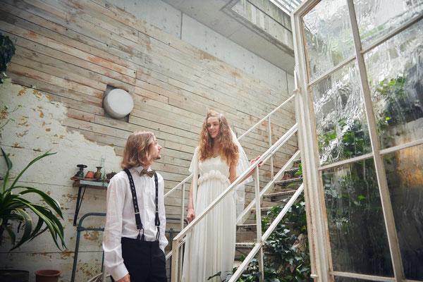ガーデンウエディング シルク楊柳ドレス