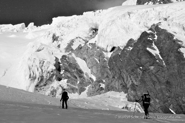Unterwegs auf dem Feegletscher zum Alphubel, 4206 m.ü.M., Wallis