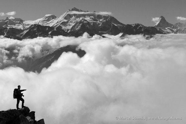 Alphubel und Matterhorn, fotografiert auf dem Bettmerhorn