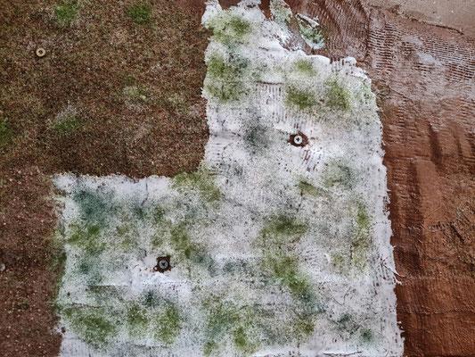 Die Weißleimfläche ergänzt mit etwas hellerem Grün