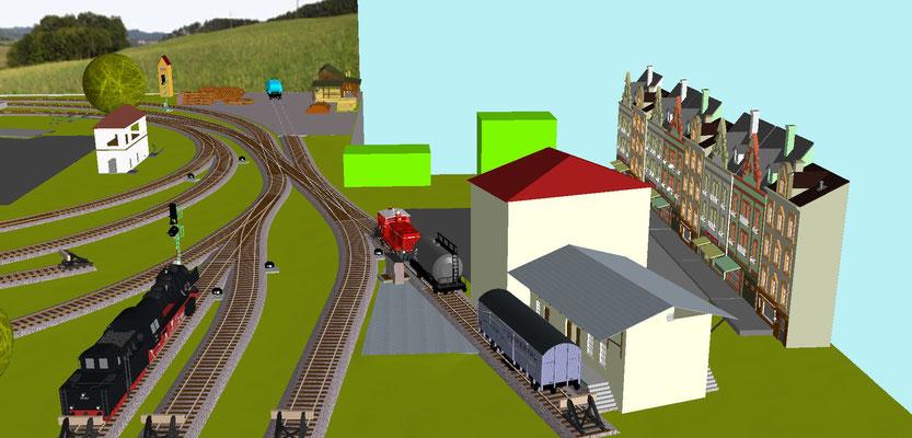 Landhandel und Lok Bereitstellungsgleis