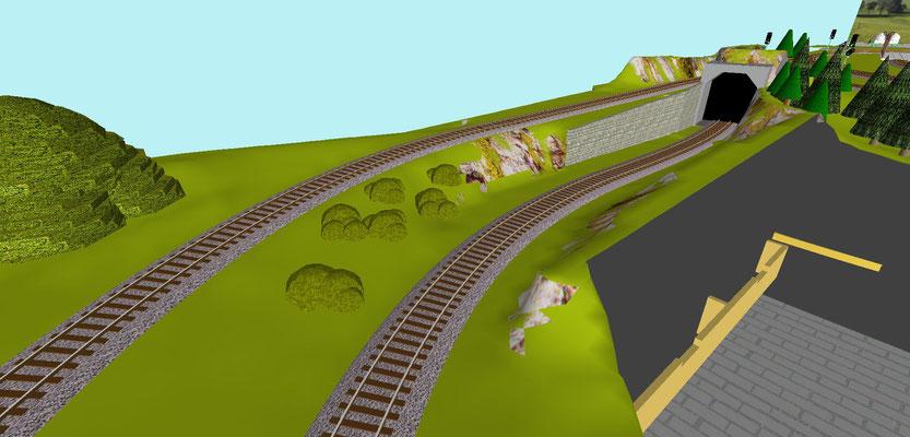 Gleis Richtung Schattenbahnhof