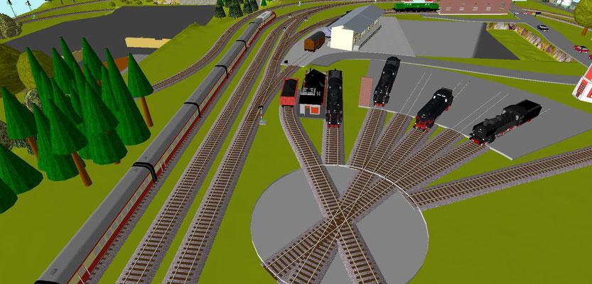 Drehscheibe und Güterzuggleise