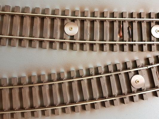 Gleis Farbe und blankem Schienenkopf