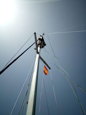 und hoch in Mast