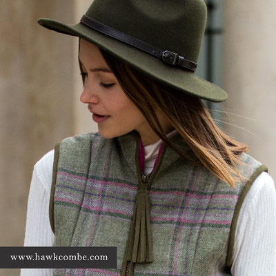 Brunette model in green hat and tweed gillet, Social Media Graphics created by Design By Pie, Freelance graphic designer, North Devon