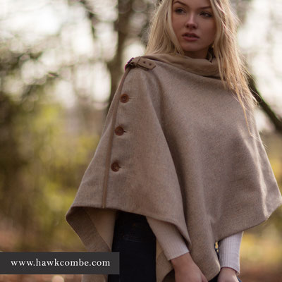 Blonde model in tweed cape and website address, Social Media Graphics created by Design By Pie, Freelance graphic designer, North Devon