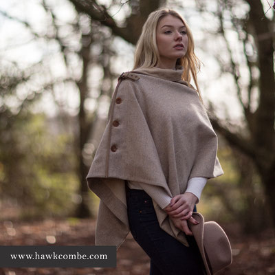 Blonde model in tweed cape, Social Media Graphics created by Design By Pie, Freelance graphic designer, North Devon